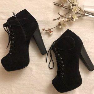 Shoes - Black Platform Ankle Booties Boots